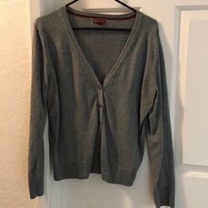 GUC grey button up v neck cardigan XL